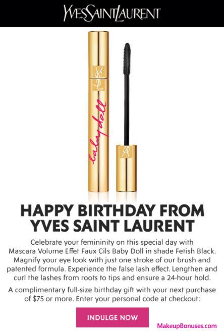 YSL free birthday gift MakeupBonuses.com