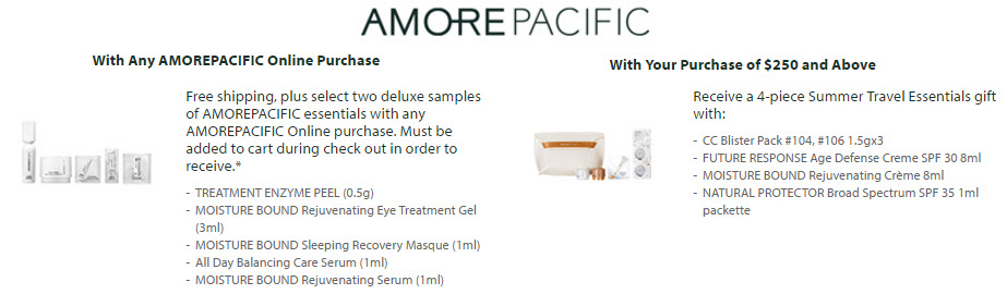 Receive your choice of 6-piece bonus gift with your $250 AMOREPACIFIC purchase