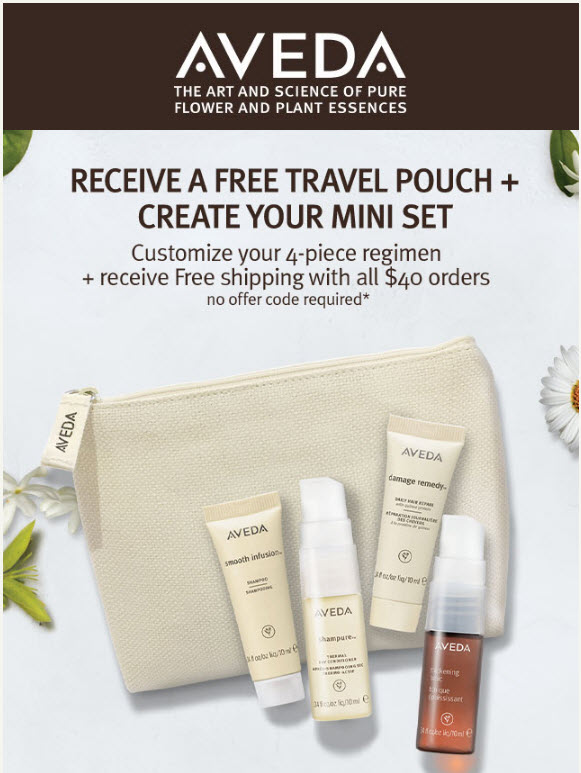 Receive your choice of 5-piece bonus gift with your $40 Aveda purchase