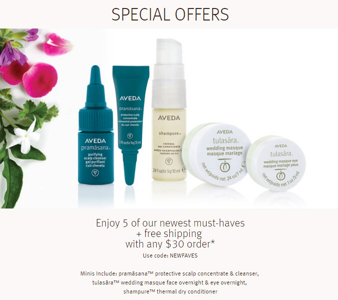 Receive a free 5-piece bonus gift with your $30 Aveda purchase