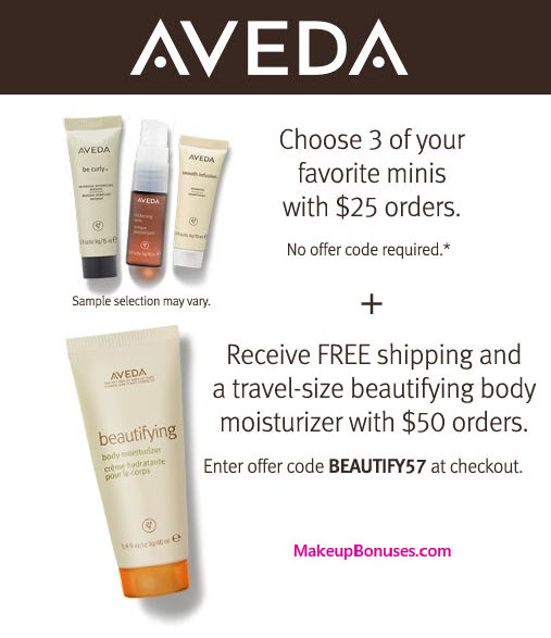 Receive your choice of 4-piece bonus gift with your $50 Aveda purchase