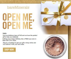 bareminerals birthday free gift MakeupBonuses.com