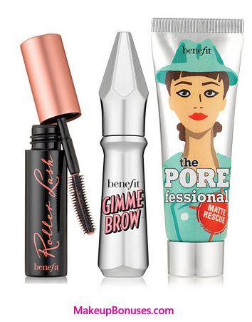 Receive a free 3-piece bonus gift with your $45 Benefit Cosmetics purchase