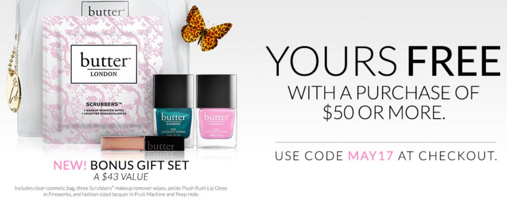 Butter London 7-piece Free Bonus Gift with $50 Purchase & Promo Code MAY17 at Butter London