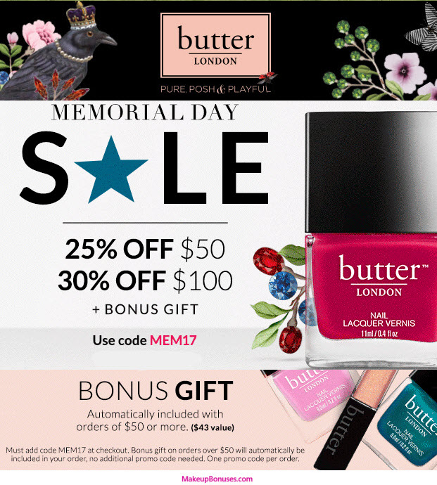 Butter London 3-piece Free Bonus Gift with $50 Purchase & Promo Code MEM17 at Butter London