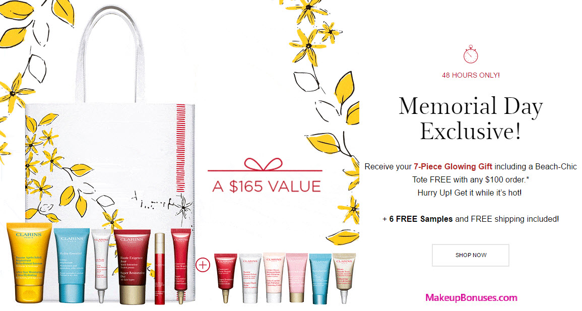 Receive your choice of 13-piece bonus gift with your $100 Clarins purchase
