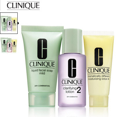 Receive your choice of 3-piece bonus gift with your Clinique 3-step product purchase