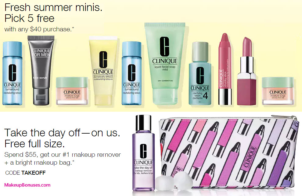 Receive a free 5-piece bonus gift with your $40 Clinique purchase