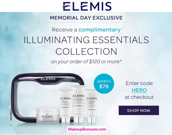 Receive a free 5-piece bonus gift with your $120 Elemis purchase