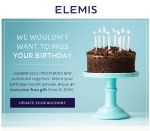 elemis free birthday gift MakeupBonuses.com