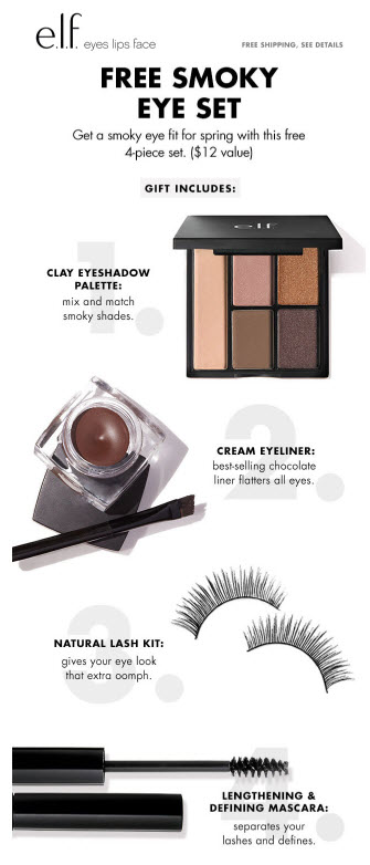 Receive a free 4-piece bonus gift with your $35 ELF Cosmetics purchase
