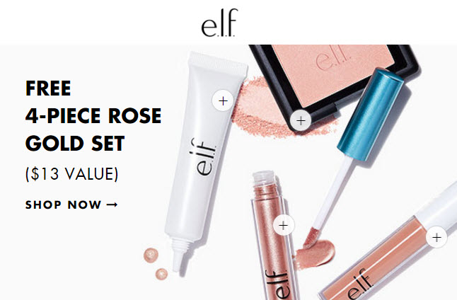 Receive a free 4-piece bonus gift with your $25 ELF Cosmetics purchase