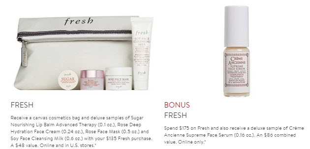 Receive a free 6-piece bonus gift with your $175 Fresh purchase