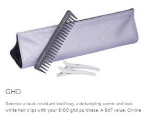 Receive a free 4-piece bonus gift with your $100 GHD purchase