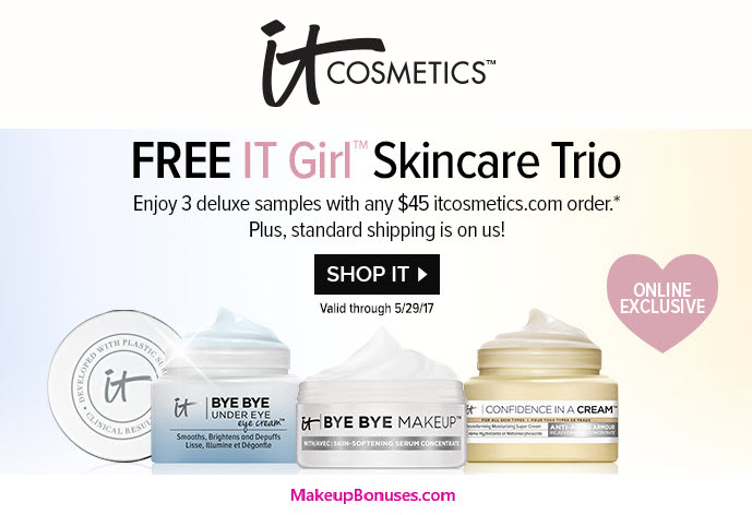 Receive a free 3-piece bonus gift with your $45 It Cosmetics purchase