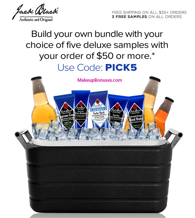 Receive your choice of 5-piece bonus gift with your $50 Jack Black purchase