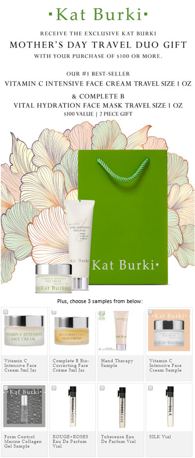 Receive your choice of 5-piece bonus gift with your $100 Kat Burki purchase