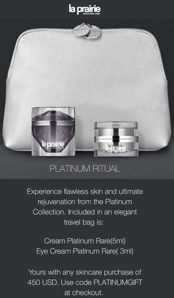 Receive a free 3-piece bonus gift with your $450 La Prairie purchase