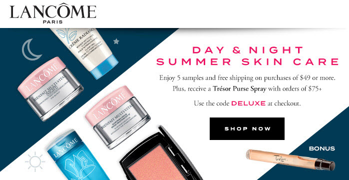 Receive a free 5-piece bonus gift with your $49 Lancôme purchase