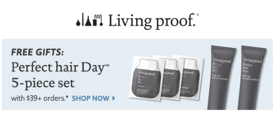 Receive a free 5-piece bonus gift with your $39 Living Proof purchase