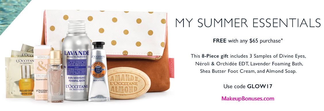 Receive a free 8-piece bonus gift with your $65 L'Occitane purchase