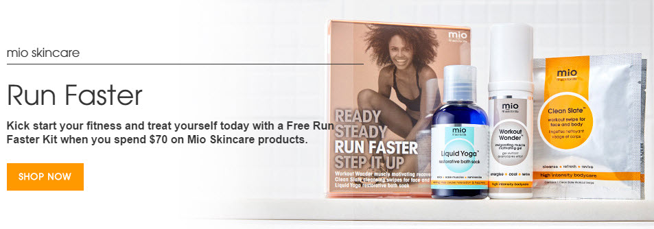 Receive a free 3-piece bonus gift with your $70 Mio Skincare purchase