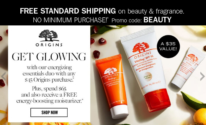 Receive a free 3-piece bonus gift with your $65 Origins purchase