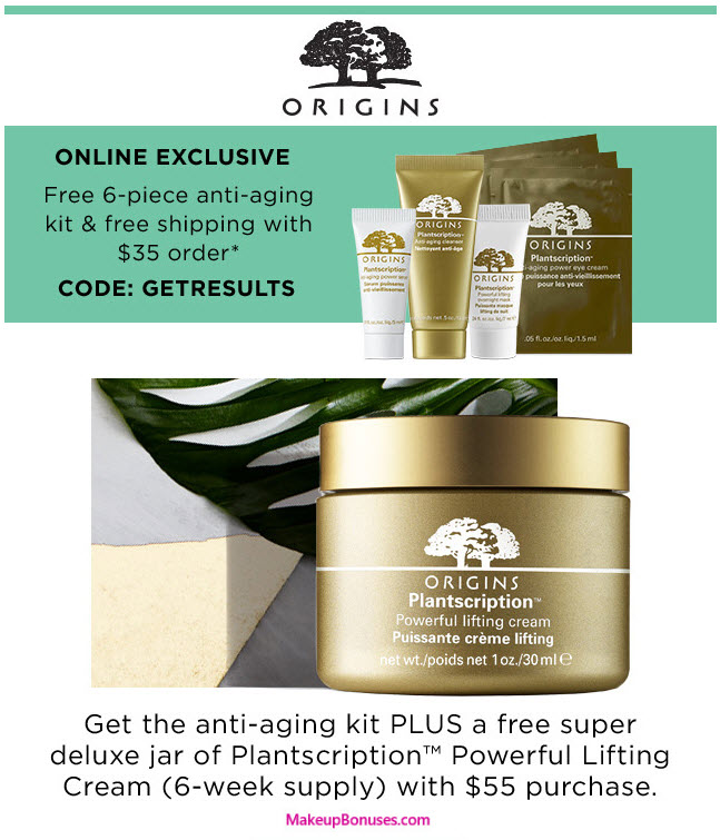 Receive a free 7-piece bonus gift with your $55 Origins purchase