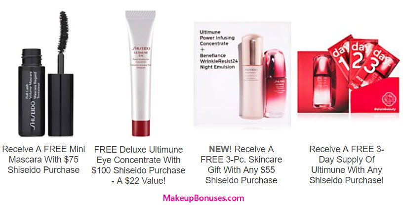 Receive a free 6-piece bonus gift with your $55 Shiseido purchase