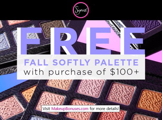 Receive a free 12-piece bonus gift with your $100 Sigma Beauty purchase