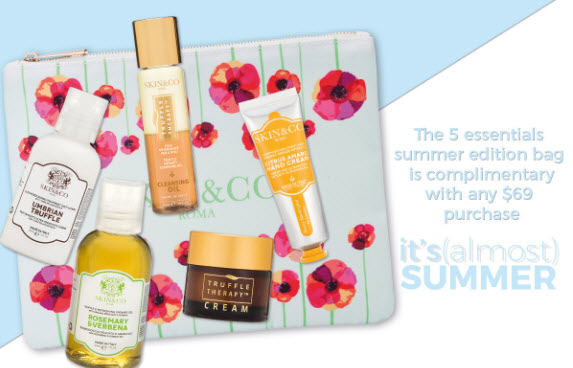 Receive a free 6-piece bonus gift with your $65 Skin and Co Roma purchase