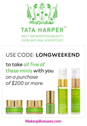 Receive a free 5-piece bonus gift with your $200 Tata Harper purchase