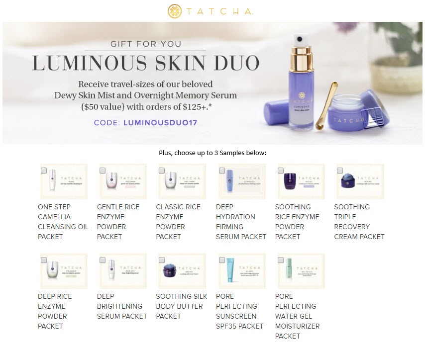 Receive your choice of 5-piece bonus gift with your $125 Tatcha purchase