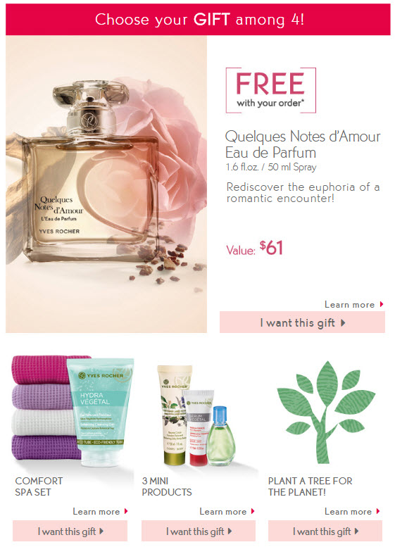 Receive your choice of 6-piece bonus gift with your $10 Yves Rocher purchase
