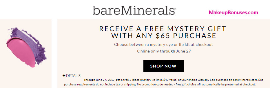 bareMinerals 3-piece Free Bonus Gift with $65 Purchase at bareMinerals