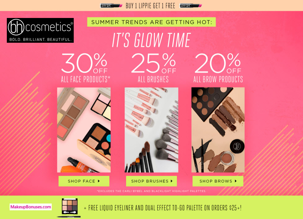 Receive a free 7-piece bonus gift with your $25 BH Cosmetics purchase