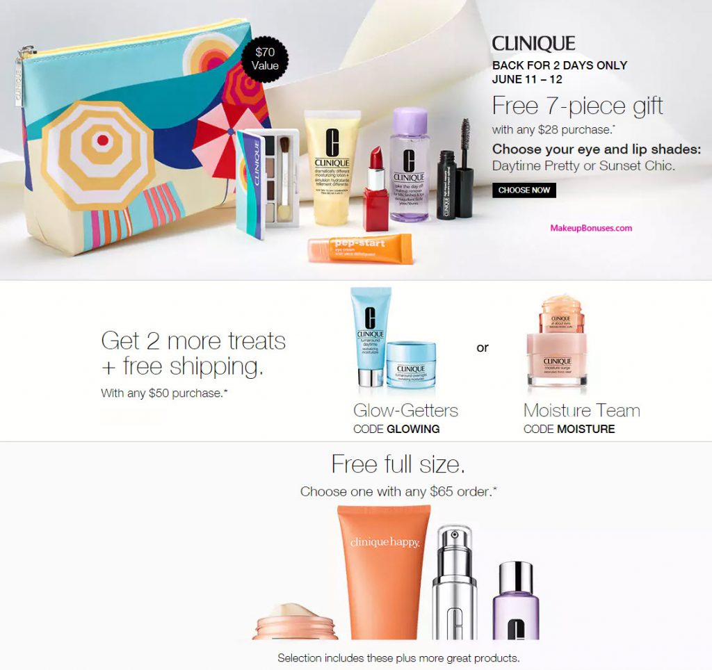 Clinique Free Bonus Gift with Purchase Promotional Offers