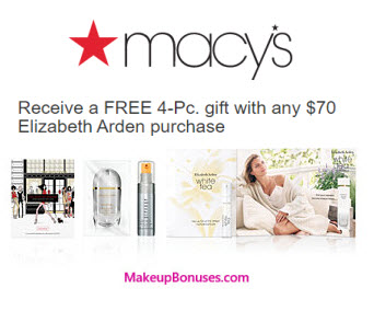 Receive a free 4-piece bonus gift with your $70 Elizabeth Arden purchase