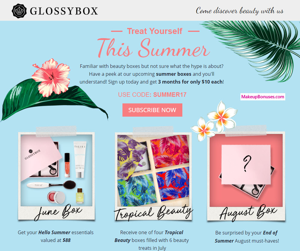 $10 / month Glossybox special - MakeupBonuses.com