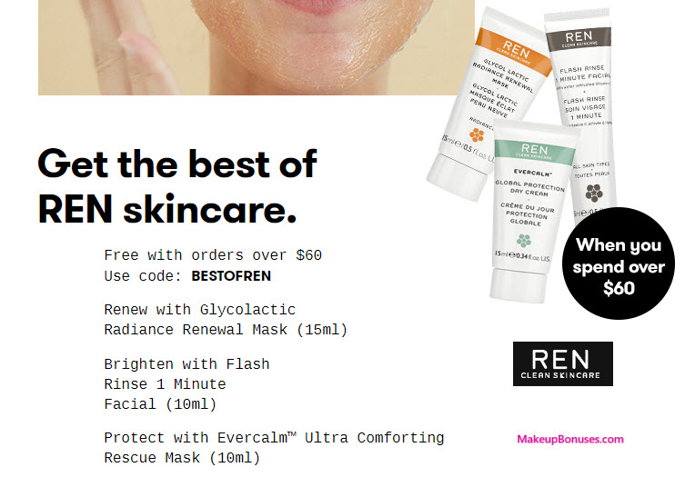 Receive a free 3-pc gift with your $60 REN Skincare purchase
