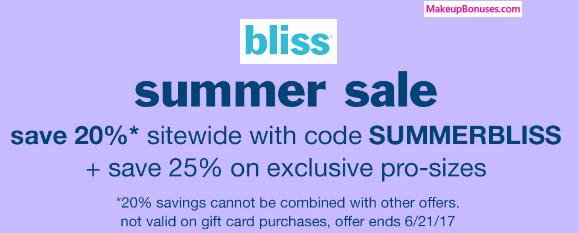 bliss summer sale 2017