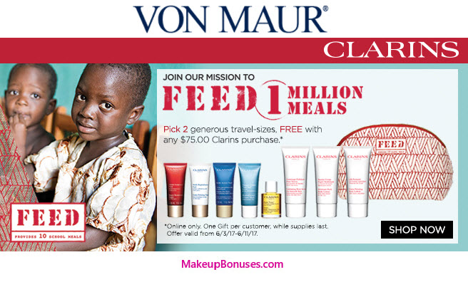 Receive your choice of 3-piece bonus gift with your $75 Clarins purchase