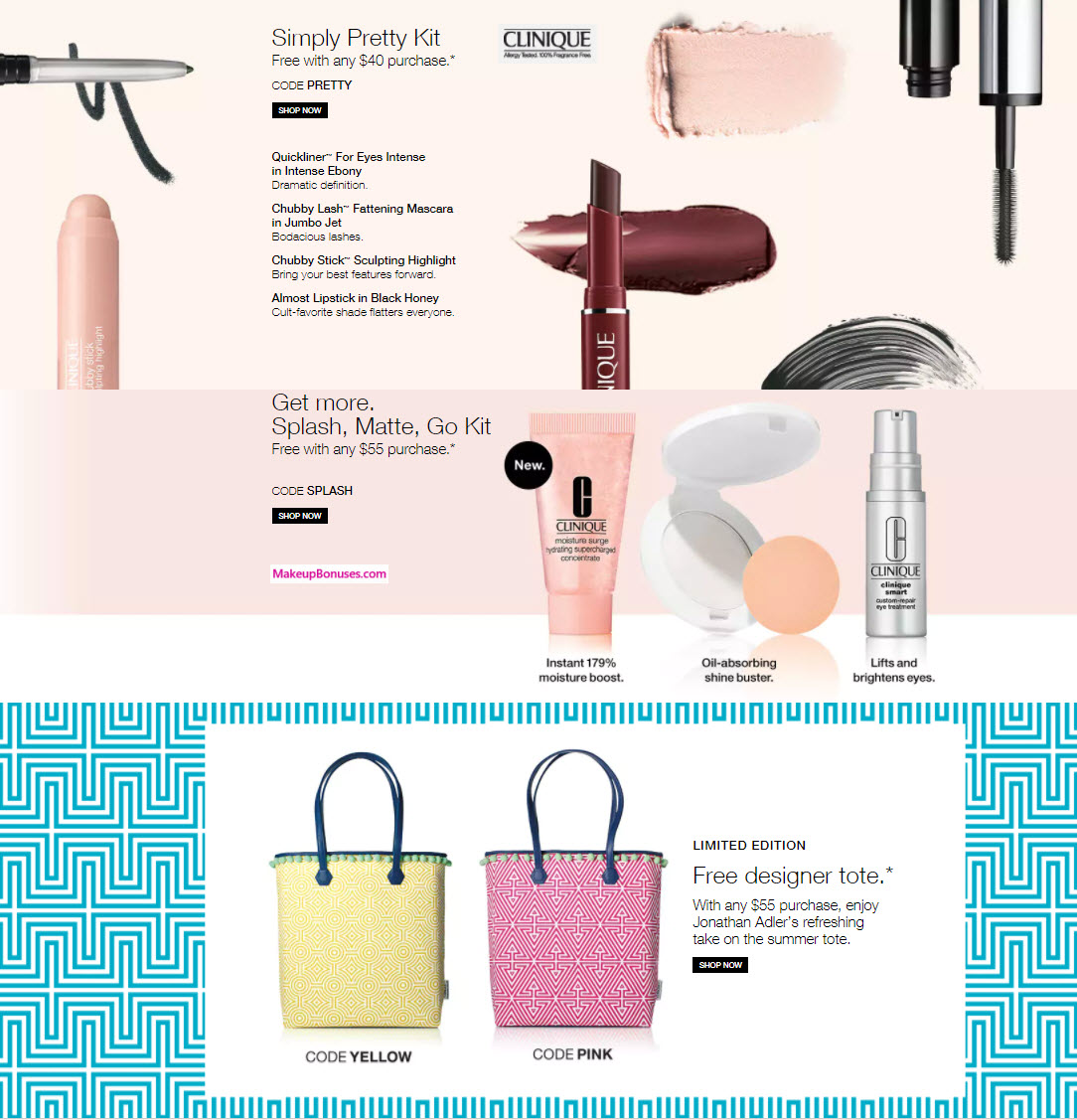 Receive a free 7-piece bonus gift with your $55 Clinique purchase