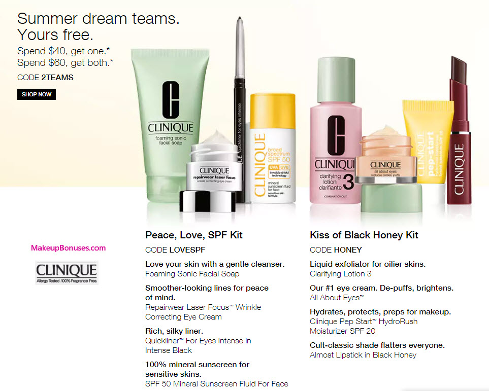 Clinique Free Bonus Gift with Purchase Offers with Promo Codes LOVESPF, HONEY, or 2TEAMS