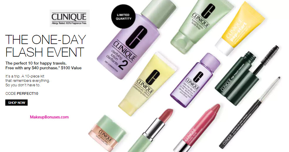 Clinique 10-piece Free Bonus Gift with $40 Purchase & Promo Code PERFECT10 at Clinique