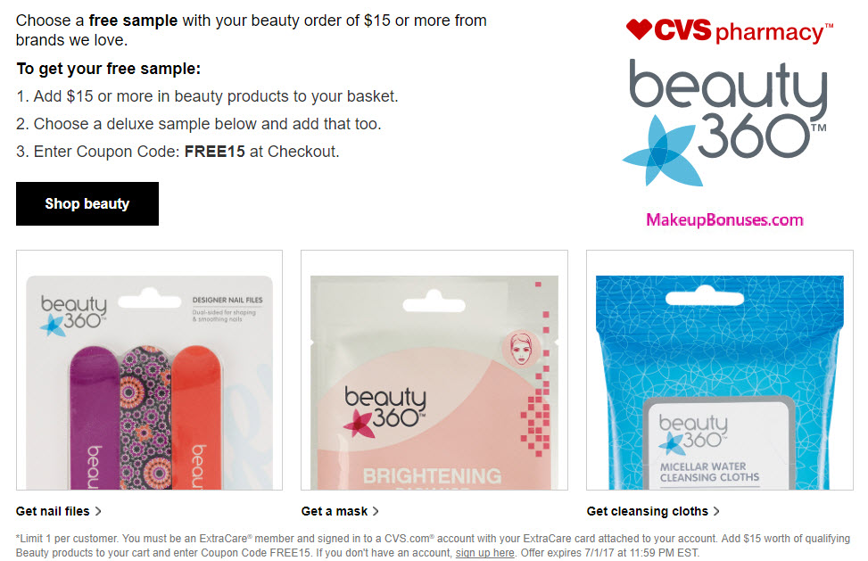 cvs pharmacy free gift with purchase makeup bonuses