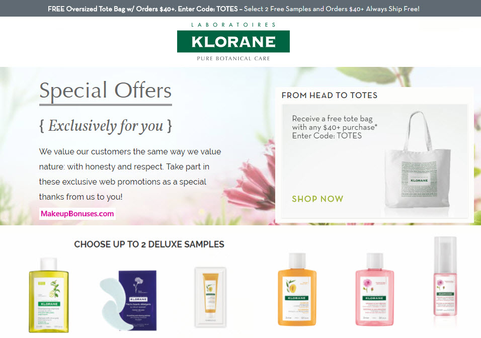 Receive a free 2-pc gift with your $40 Klorane purchase