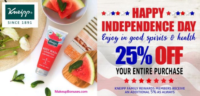 Kneipp 25% Off - MakeupBonuses.com
