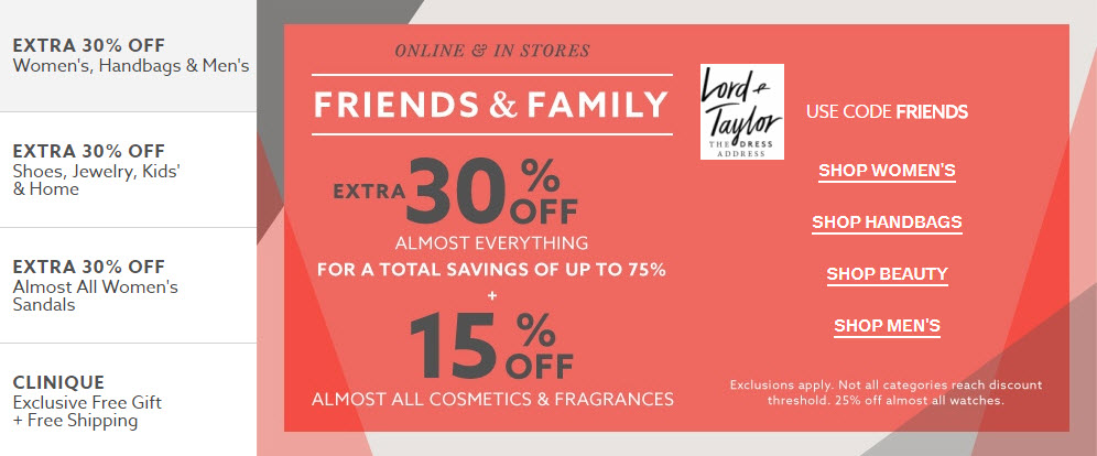 lord and taylor 15% friends and family discount on beauty