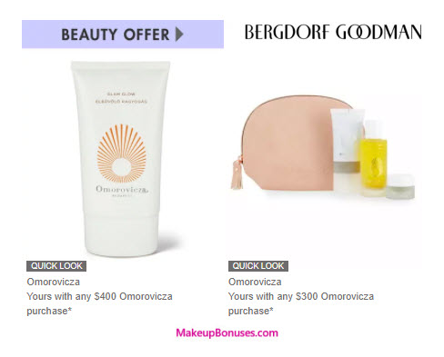 Receive a free 5-pc gift with your $400 Omorovicza purchase